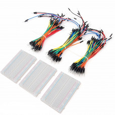 Breadboard Kit - 3 x 65pcs Jumper Wire Cable M2M and 3 x Mini Breadboard 400 Pins