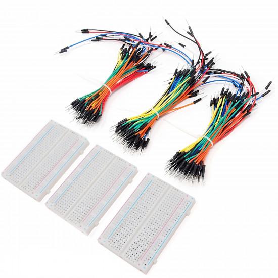 Breadboard Kit - 3 x 65pcs Jumper Wire Cable M2M and 3 x Mini Breadboard 400 Pins