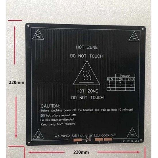 Heated Bed MK3 220x220x3mm 12/24V