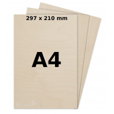 Birch plywood 3mm A4 for laser, pyrography, craft and model making