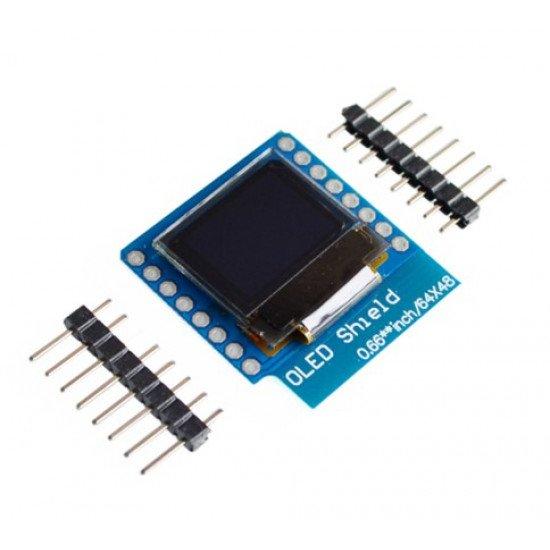 OLED Shield V1.1.0 for WeMos D1 mini 0.66inch 64X48 IIC I2C