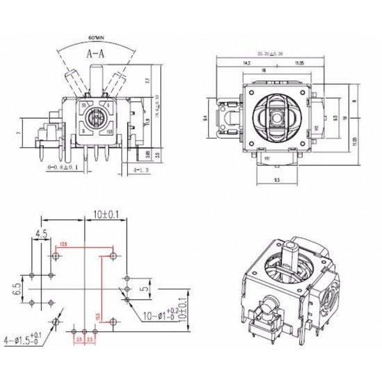 Analog joystick for PCB 10k