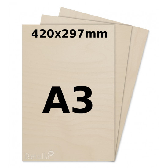 Birch plywood 5mm A3 for laser, pyrography, craft and model making