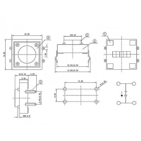 12mm Tactile switch B3F-4055