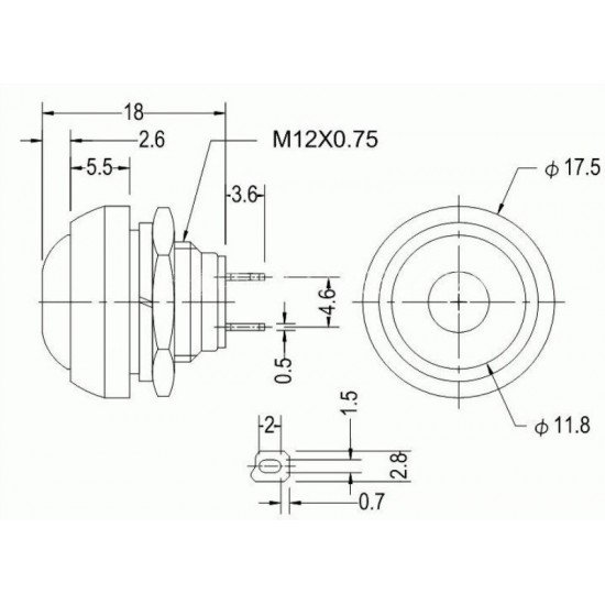 PBS-33B Push Button Momentary,12mm, Waterproof, 2 PIN - Black