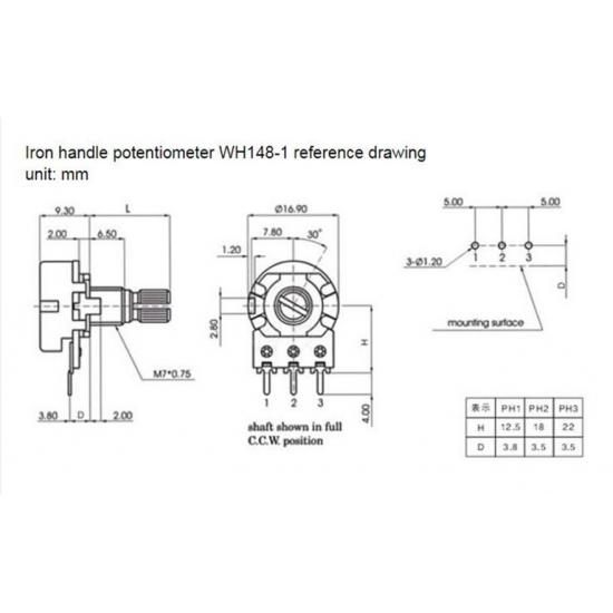 WH148 single potentiometer 5K 3pin 15mm