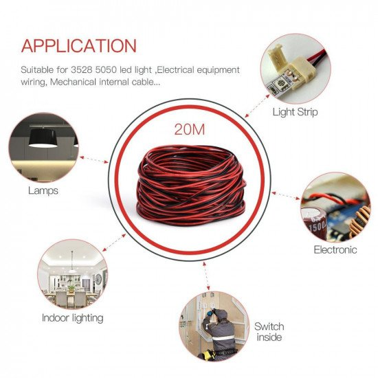 UL2468 2 Core PVC Power cable Red-Black 18AWG